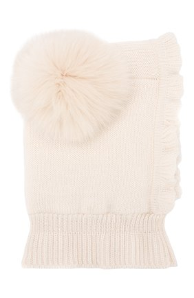 Детского шерстяная шапка-балаклава CATYA бежевого цвета, арт. 923608/4DJ | Фото 1