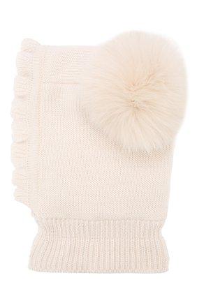 Детского шерстяная шапка-балаклава CATYA бежевого цвета, арт. 923608/4DJ | Фото 2