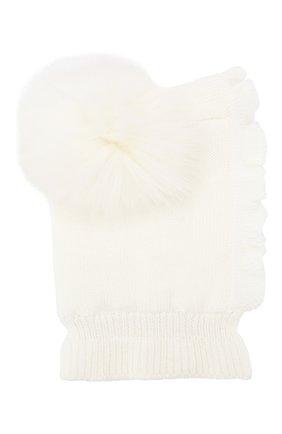 Детского шерстяная шапка-балаклава CATYA белого цвета, арт. 923608/4DJ | Фото 1