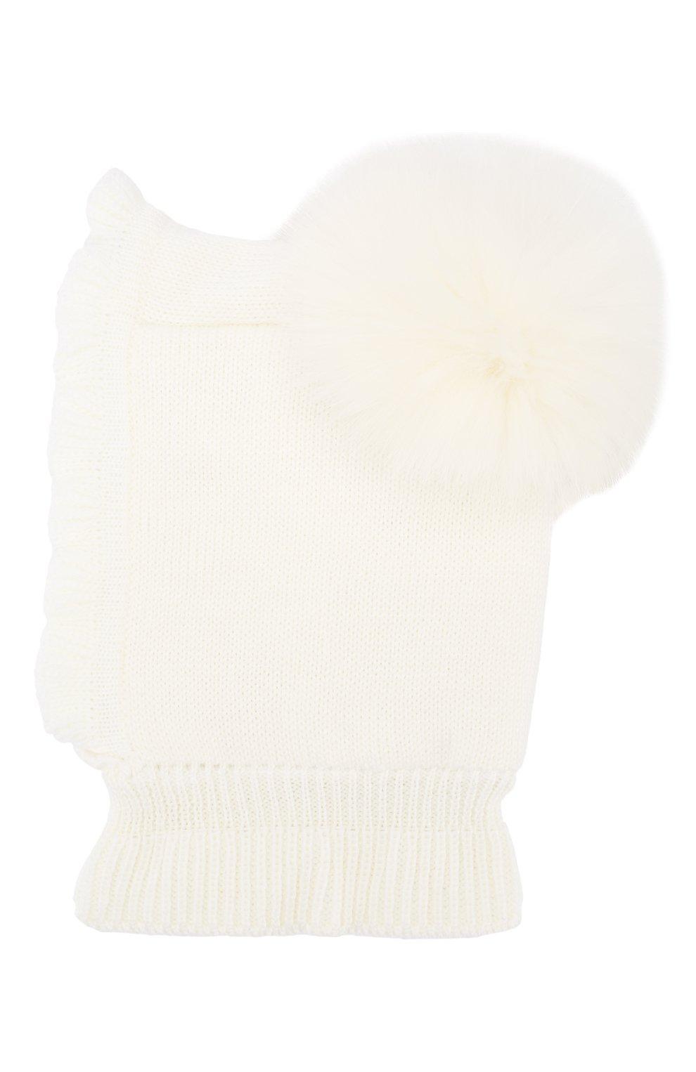 Детского шерстяная шапка-балаклава CATYA белого цвета, арт. 923608/4DJ | Фото 2