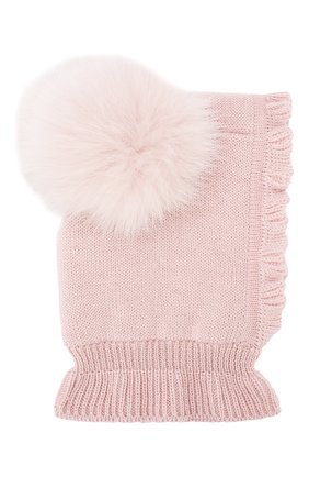 Детского шерстяная шапка-балаклава CATYA светло-розового цвета, арт. 923608/4DJ | Фото 1