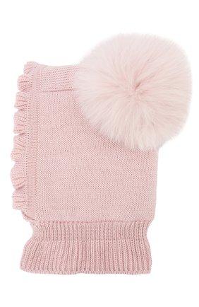 Детского шерстяная шапка-балаклава CATYA светло-розового цвета, арт. 923608/4DJ | Фото 2