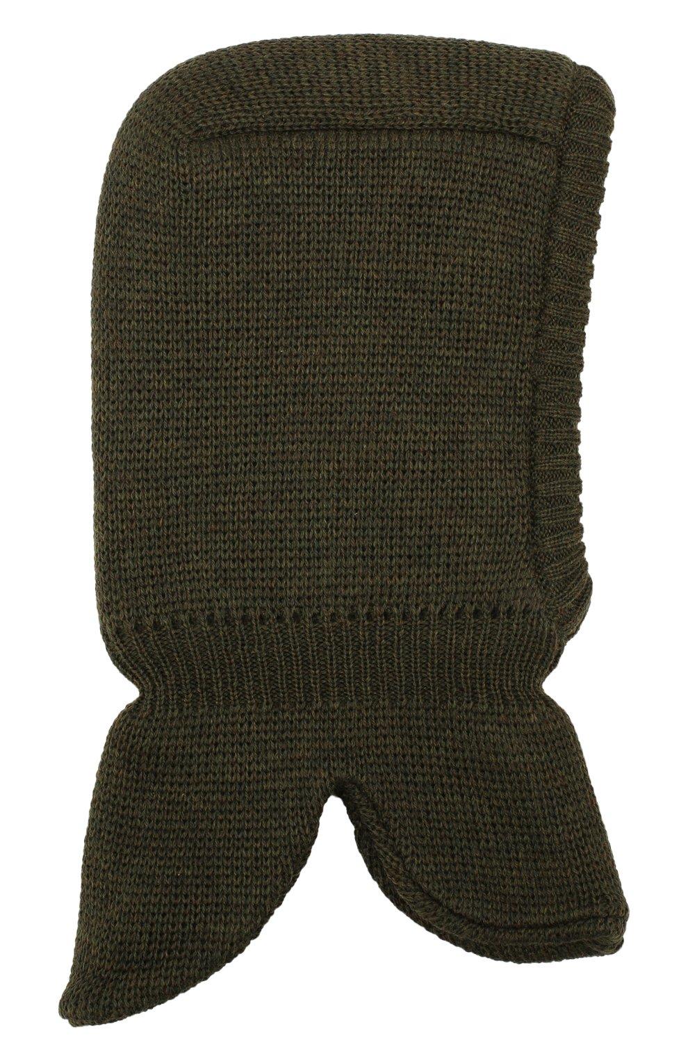 Детского шерстяная шапка-балаклава IL TRENINO хаки цвета, арт. 19 6801/LQ | Фото 1