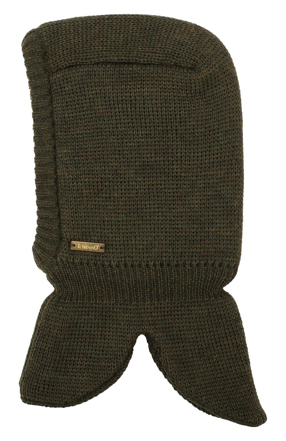 Детского шерстяная шапка-балаклава IL TRENINO хаки цвета, арт. 19 6801/LQ | Фото 2