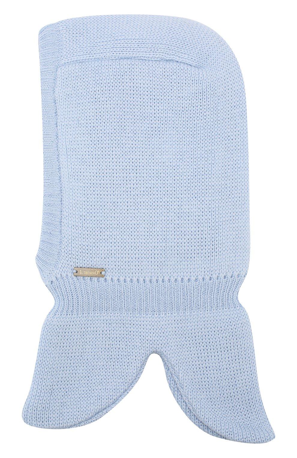 Детского шерстяная шапка-балаклава IL TRENINO голубого цвета, арт. 19 6801/LP | Фото 2 (Материал: Шерсть; Статус проверки: Проверено)