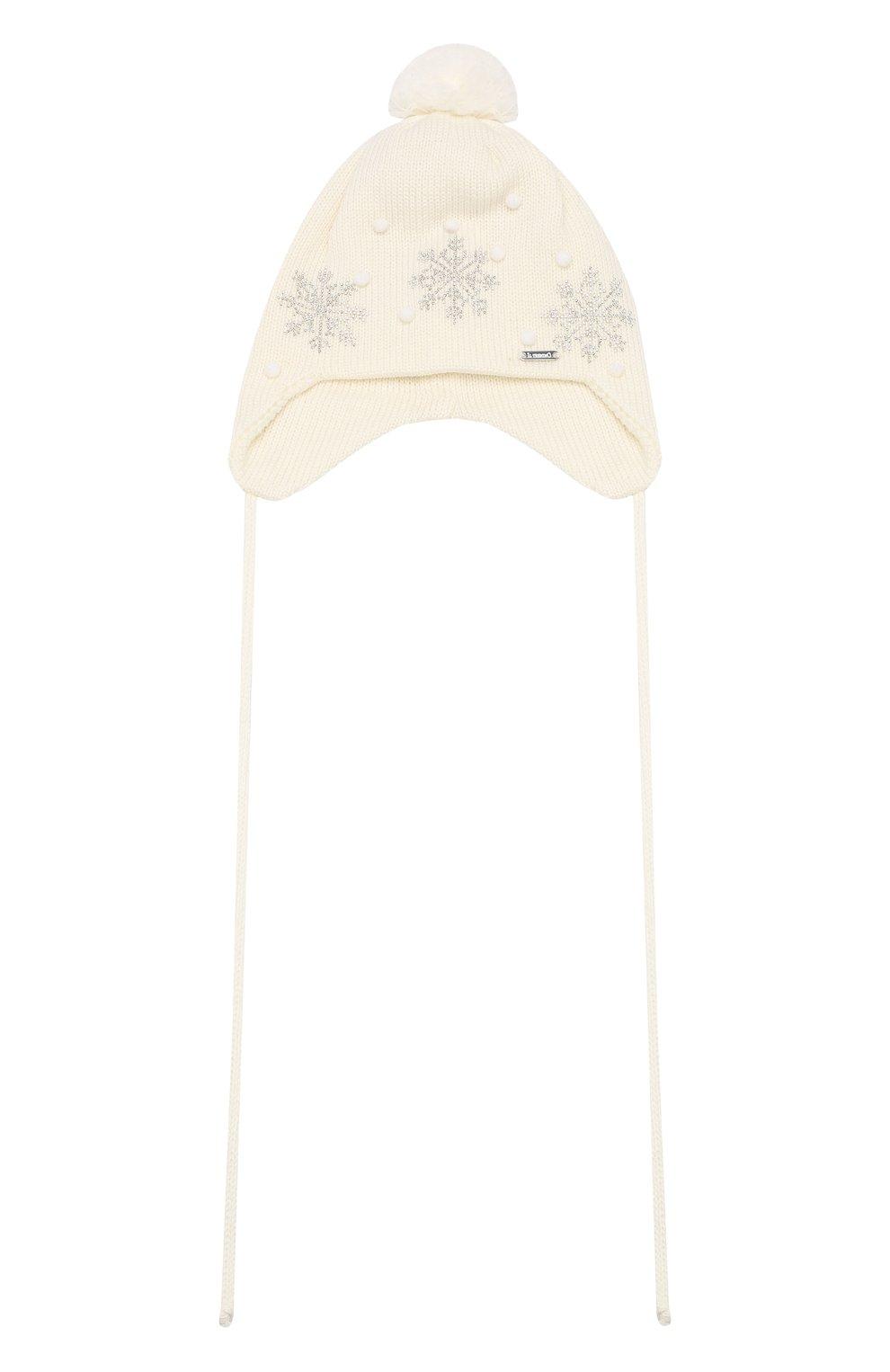 Детского шерстяная шапка IL TRENINO кремвого цвета, арт. 19 5718/E7   Фото 1