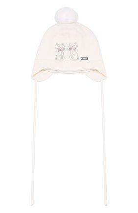Детского шерстяная шапка IL TRENINO белого цвета, арт. 19 5698/FM | Фото 1