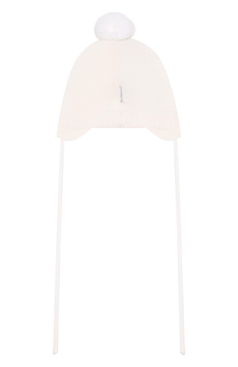 Детского шерстяная шапка IL TRENINO белого цвета, арт. 19 5698/FM | Фото 2