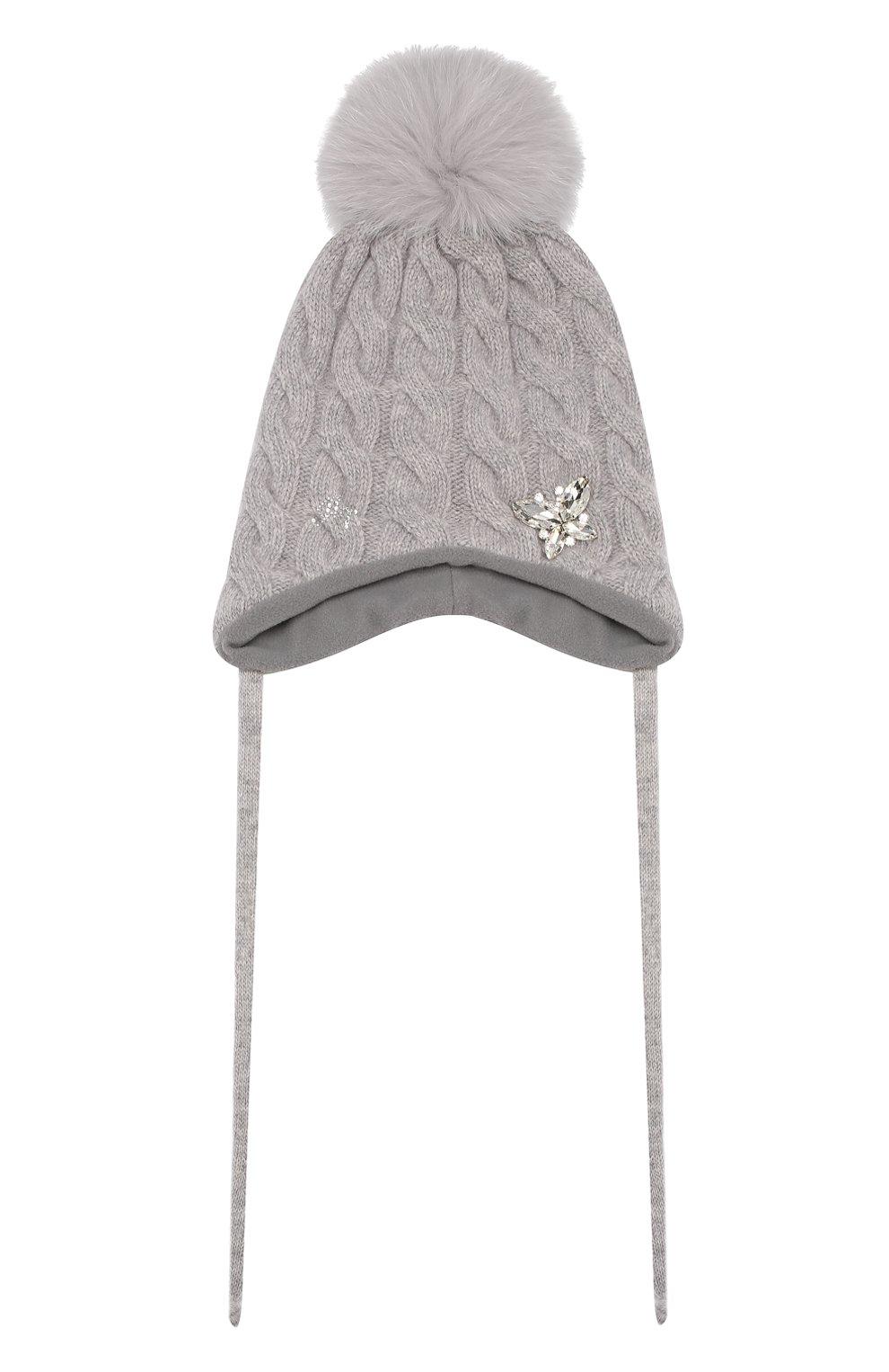 Детского шапка из смеси шерсти и кашемира IL TRENINO светло-серого цвета, арт. 19 5650/E0   Фото 1