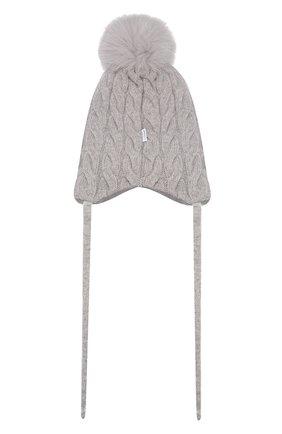 Детского шапка из смеси шерсти и кашемира IL TRENINO светло-серого цвета, арт. 19 5650/E0   Фото 2