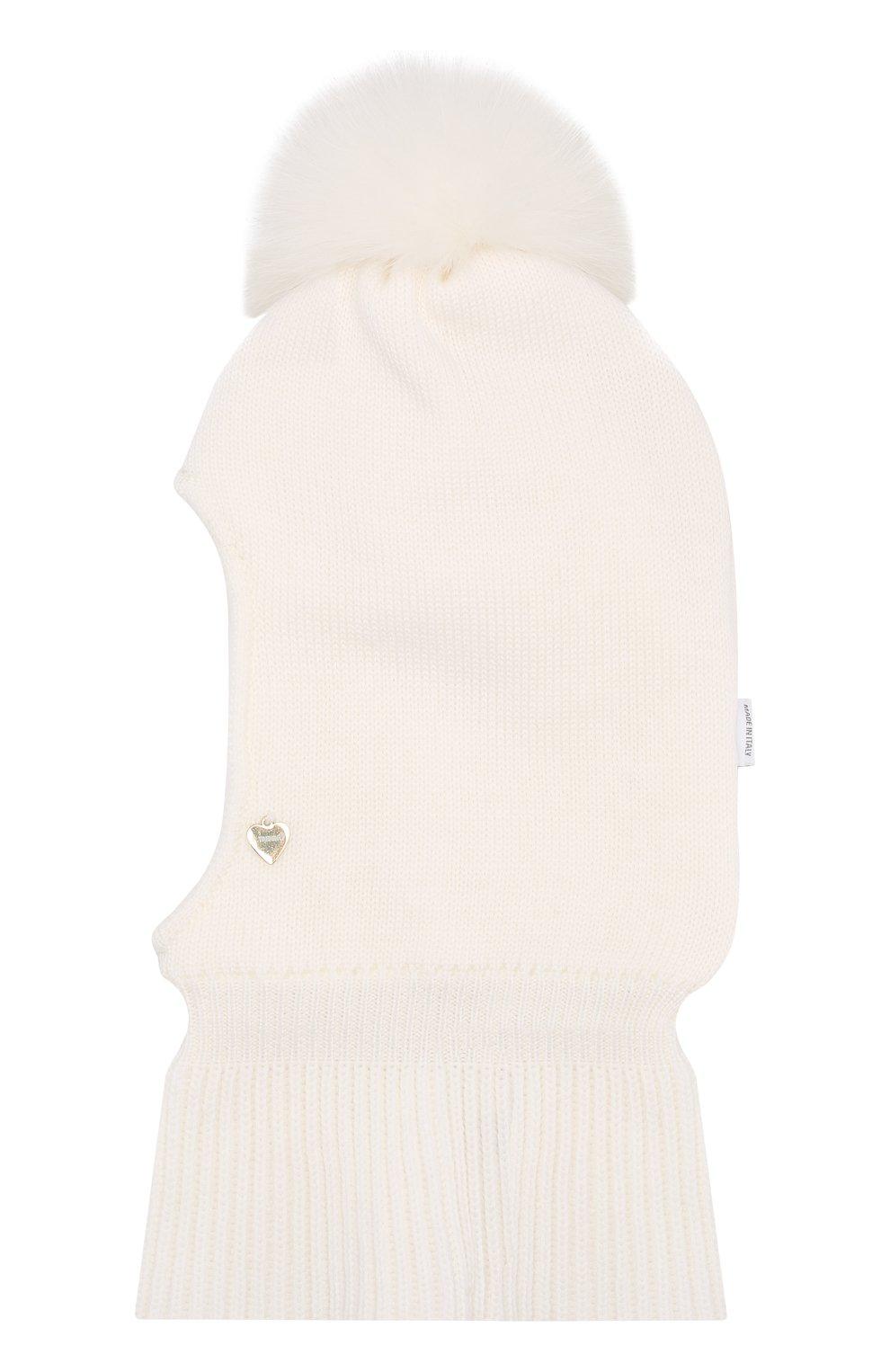 Детского шерстяная шапка-балаклава IL TRENINO белого цвета, арт. 18 4115/E0 | Фото 1