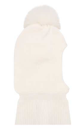 Детского шерстяная шапка-балаклава IL TRENINO белого цвета, арт. 18 4115/E0 | Фото 2