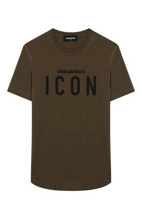Детская хлопковая футболка DSQUARED2 хаки цвета, арт. DQ02M8-D00MR | Фото 1