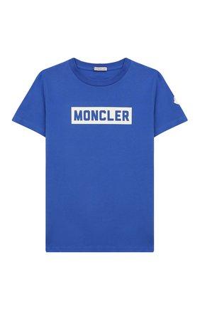Детская хлопковая футболка MONCLER ENFANT бирюзового цвета, арт. E2-954-80269-50-83092/8-10A | Фото 1