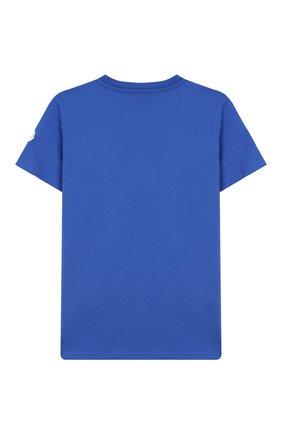 Детская хлопковая футболка MONCLER ENFANT бирюзового цвета, арт. E2-954-80269-50-83092/8-10A | Фото 2