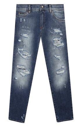 Детские джинсы с потертостями DOLCE & GABBANA синего цвета, арт. L42F24/LD835/8-14   Фото 1