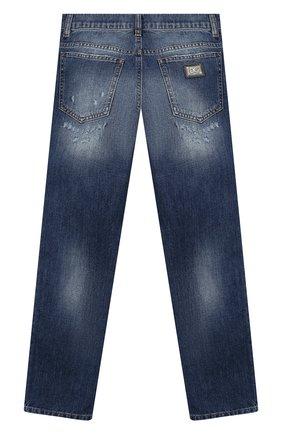 Детские джинсы с потертостями DOLCE & GABBANA синего цвета, арт. L42F24/LD835/8-14   Фото 2