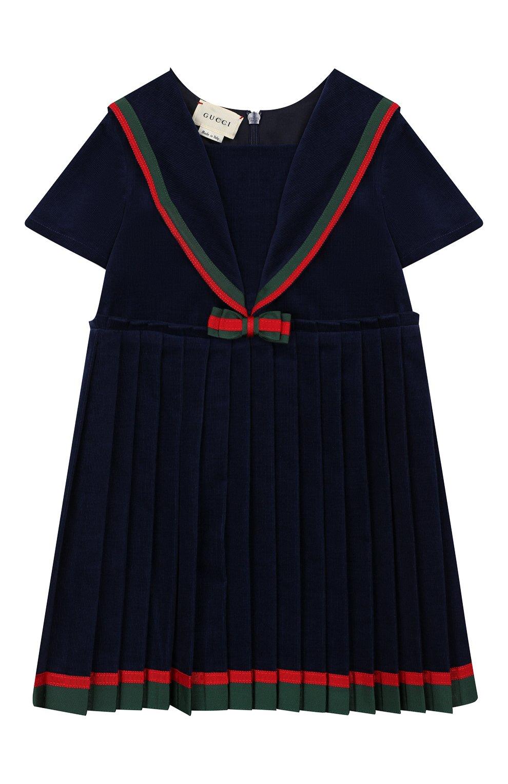 Женский хлопковое платье GUCCI синего цвета, арт. 572541/ZABWX | Фото 1