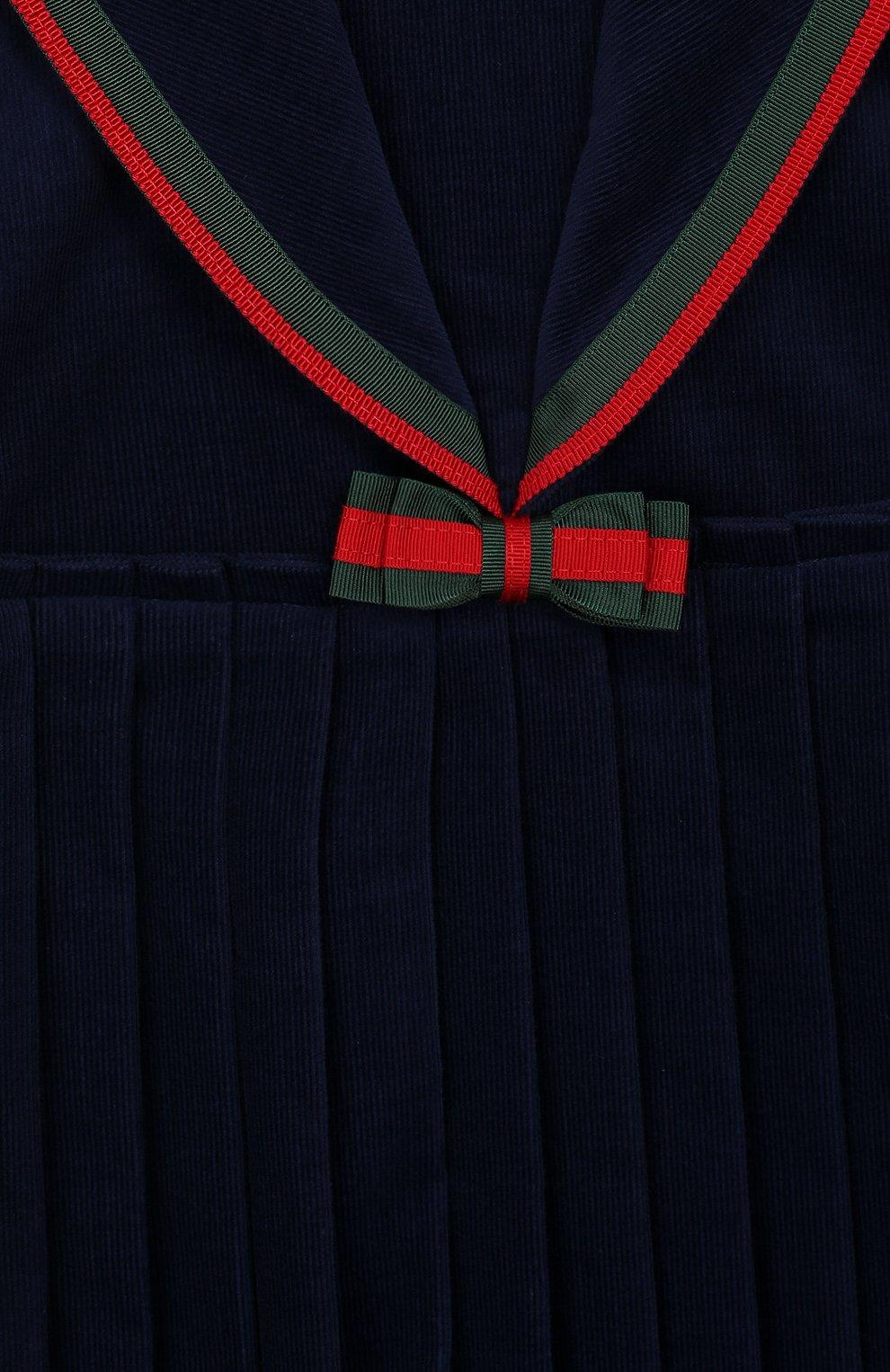 Женский хлопковое платье GUCCI синего цвета, арт. 572541/ZABWX | Фото 3