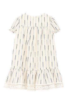 Женский хлопковое платье GUCCI белого цвета, арт. 572533/ZAB8I | Фото 2