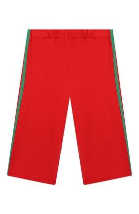 Детского брюки из вискозы GUCCI красного цвета, арт. 571378/XJBEC | Фото 1