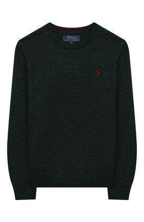 Детский шерстяной пуловер POLO RALPH LAUREN зеленого цвета, арт. 323749887 | Фото 1