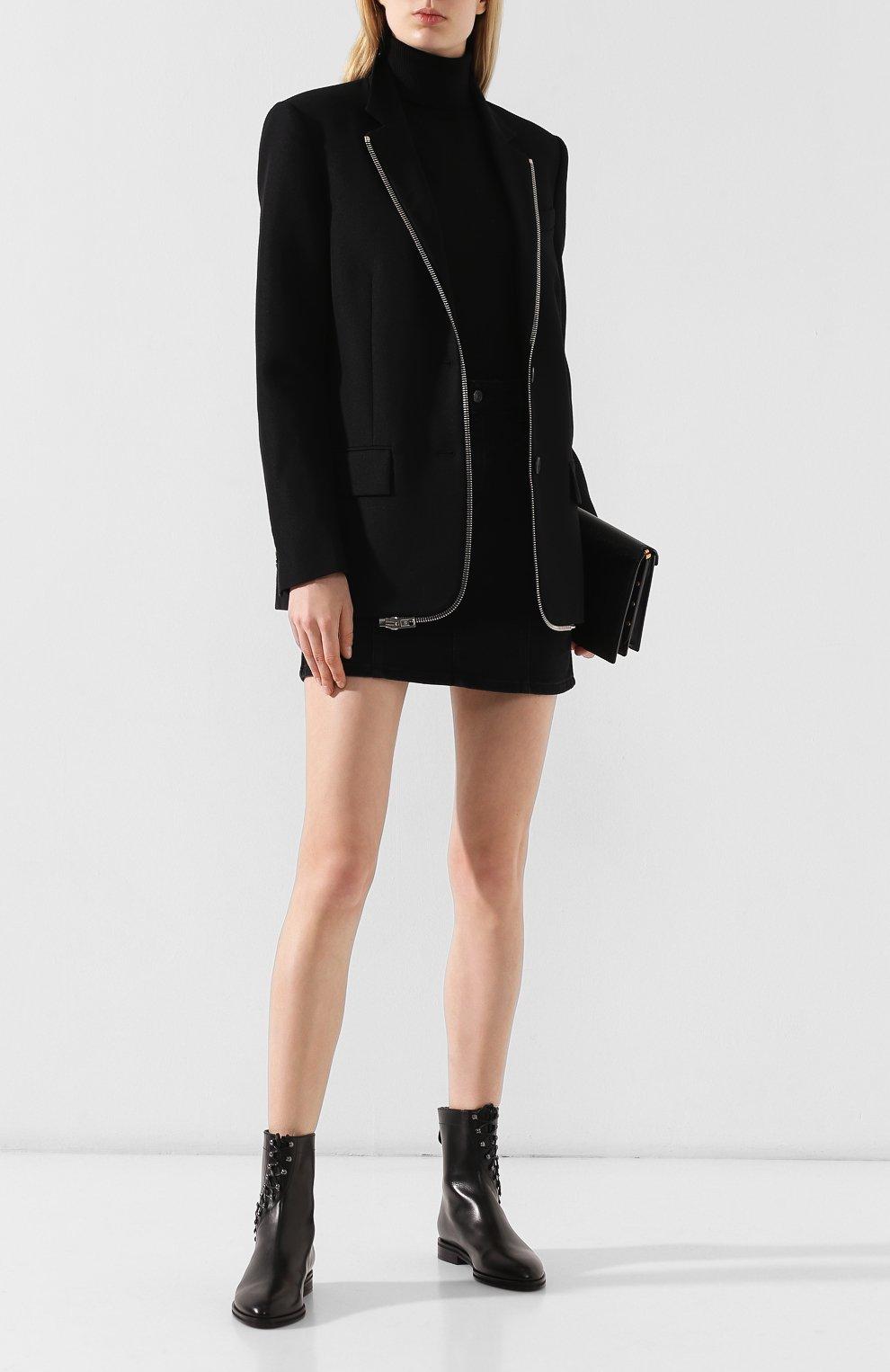 Женские кожаные ботинки ALAIA черного цвета, арт. 9W3T068CL25 | Фото 2