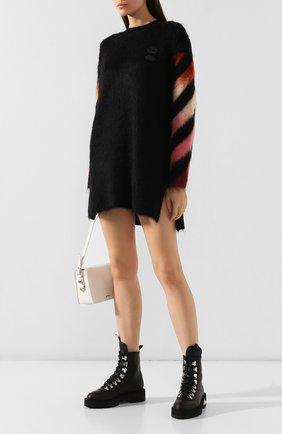 Женские кожаные ботинки OFF-WHITE черного цвета, арт. 0WIA045E19D680771000   Фото 2