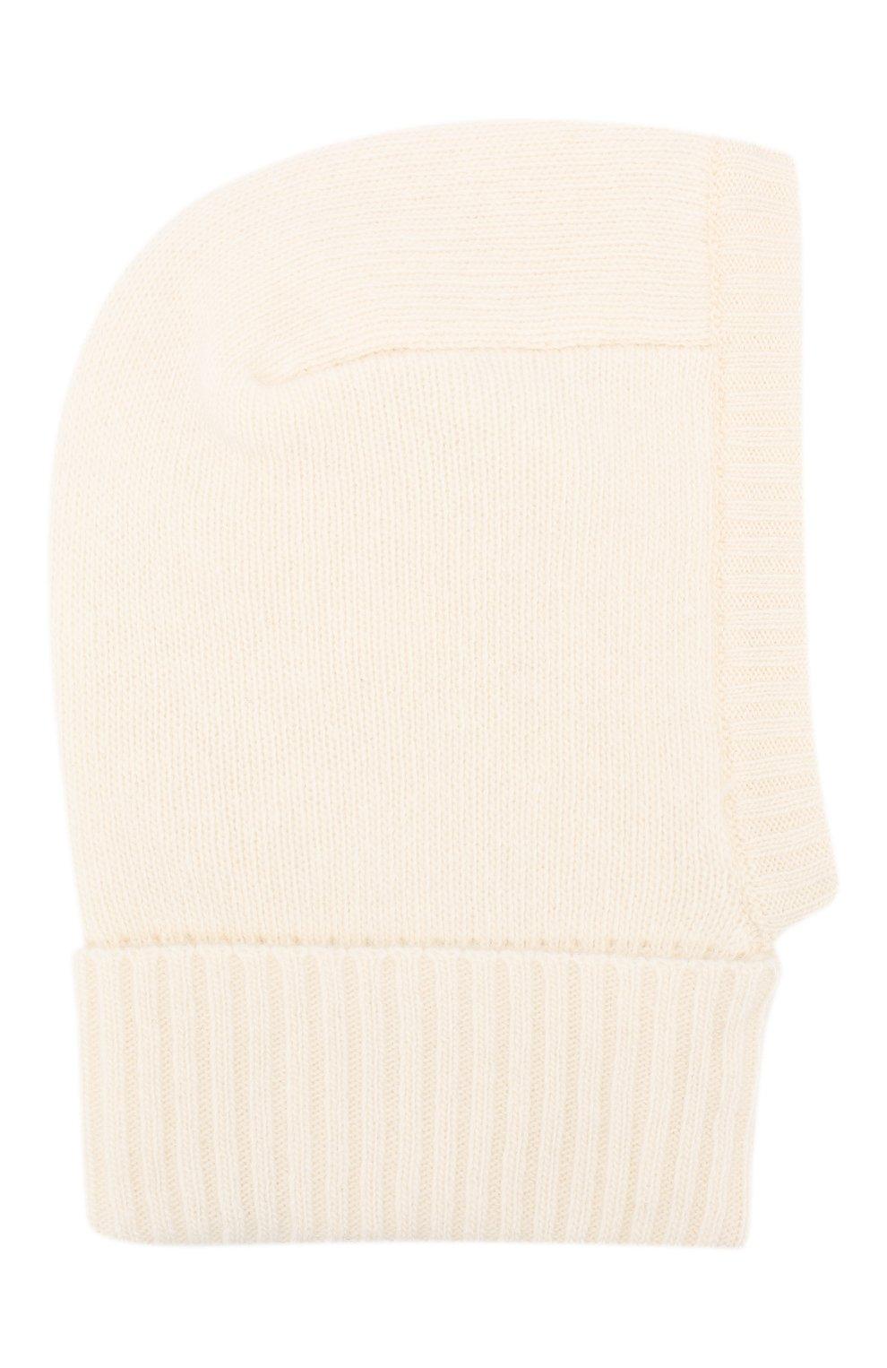 Детского шапка-балаклава из шерсти и кашемира IL TRENINO белого цвета, арт. 18 7529/E2   Фото 1