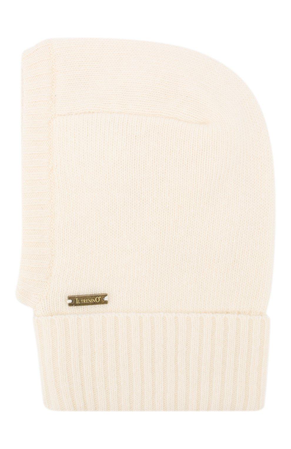 Детского шапка-балаклава из шерсти и кашемира IL TRENINO белого цвета, арт. 18 7529/E2   Фото 2