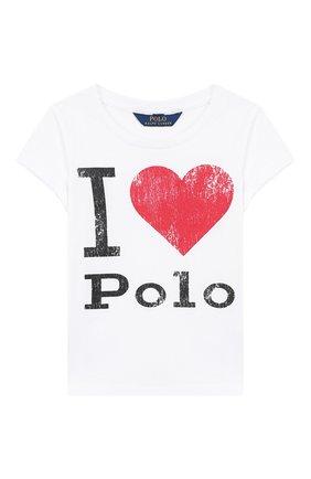 Детская хлопковая футболка POLO RALPH LAUREN белого цвета, арт. 313750814 | Фото 1