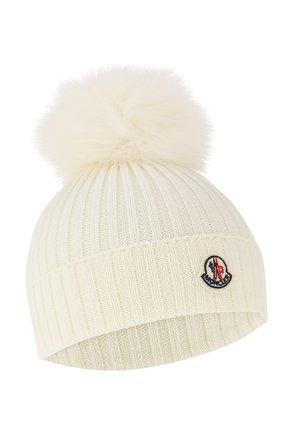 Детского шерстяная шапка с меховым помпоном MONCLER ENFANT белого цвета, арт. E2-954-00256-05-04S01 | Фото 1