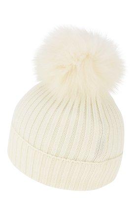 Детского шерстяная шапка с меховым помпоном MONCLER ENFANT белого цвета, арт. E2-954-00256-05-04S01 | Фото 2