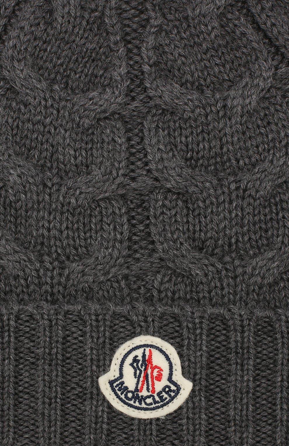 Детского шерстяная шапка MONCLER ENFANT серого цвета, арт. E2-954-00110-05-04S02 | Фото 3
