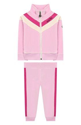 Детский комплект из кардигана и брюк MONCLER ENFANT розового цвета, арт. E2-951-88599-50-8999Y | Фото 1