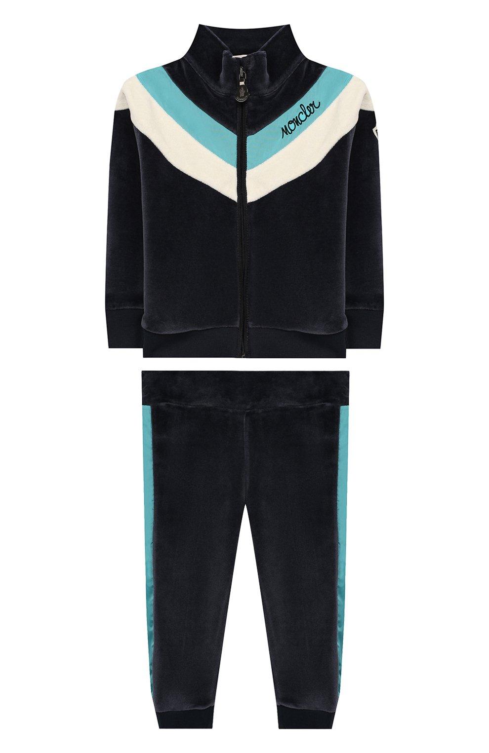 Детский комплект из кардигана и брюк MONCLER ENFANT синего цвета, арт. E2-951-88599-50-8999Y | Фото 1