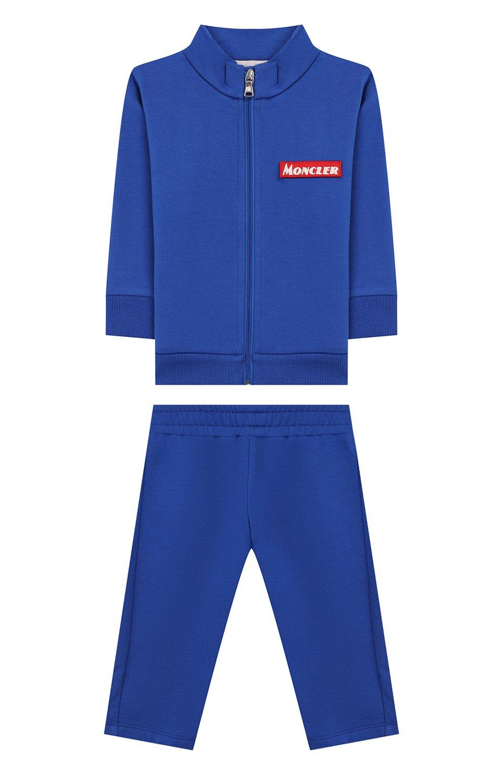 Детский комплект из кардигана и брюк MONCLER ENFANT синего цвета, арт. E2-951-88140-00-80996   Фото 1
