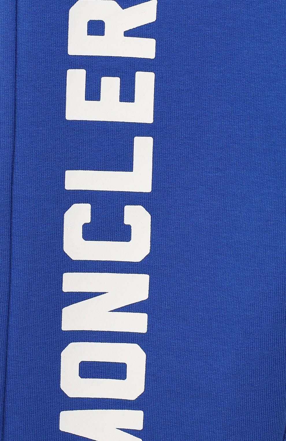Детские хлопковые джоггеры MONCLER ENFANT бирюзового цвета, арт. E2-951-87090-50-80996 | Фото 3