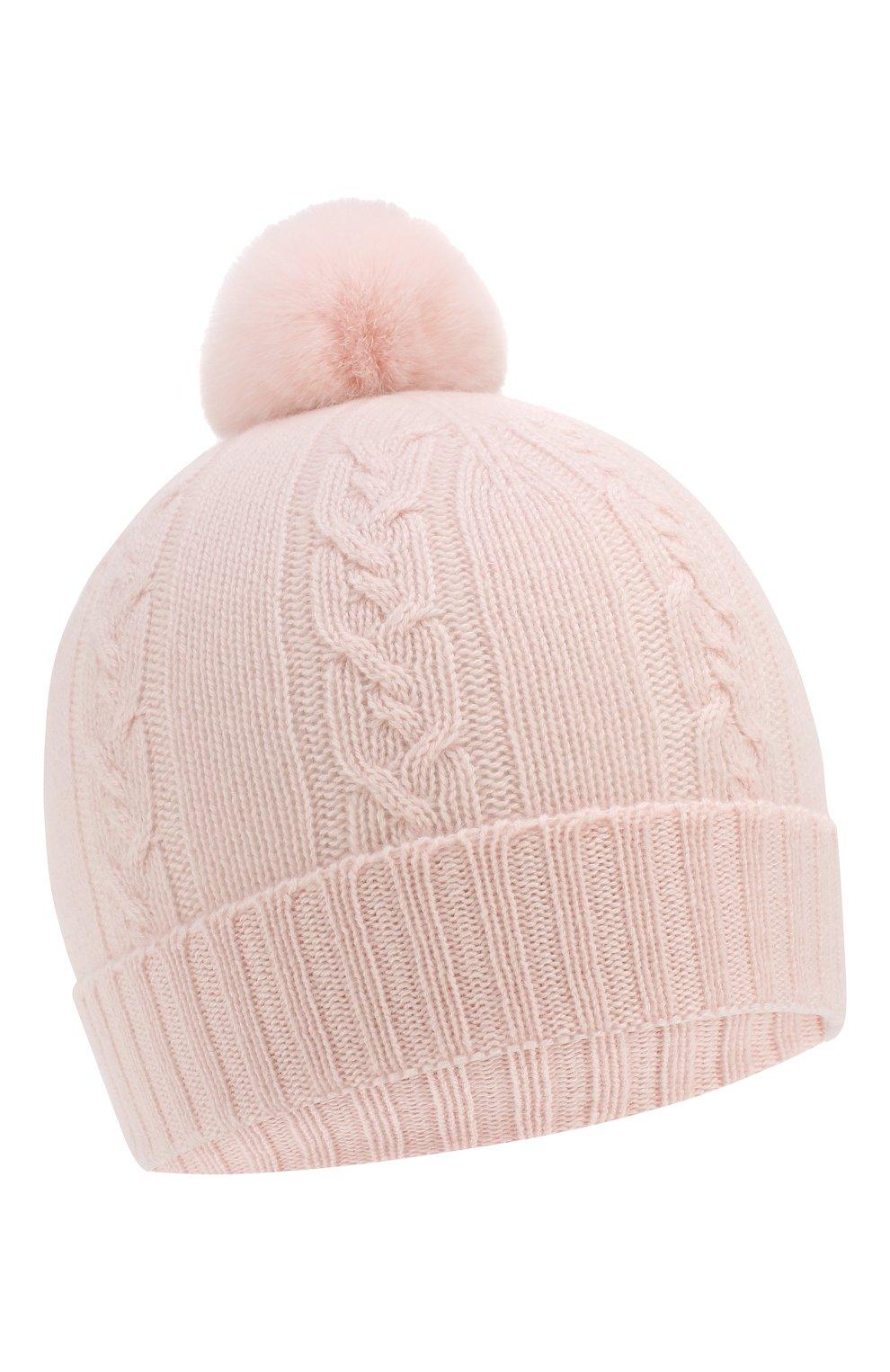 Детского кашемировая шапка с меховым помпоном LORO PIANA светло-розового цвета, арт. FAI7330 | Фото 1 (Материал: Кашемир, Шерсть; Статус проверки: Проверено, Проверена категория)