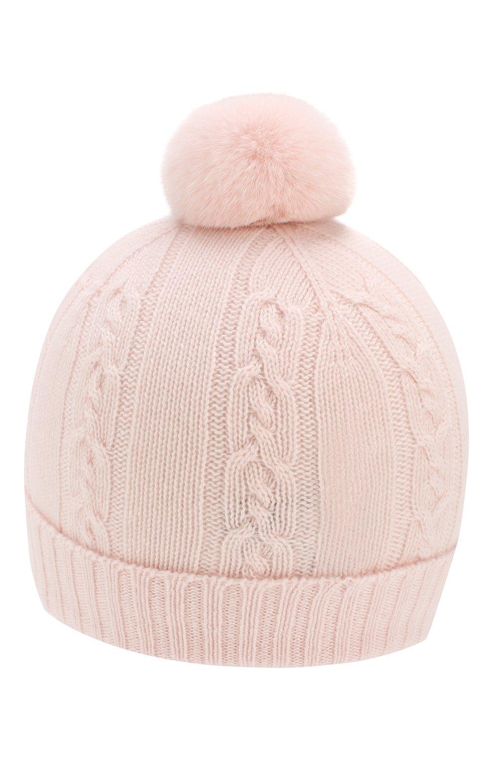 Детского кашемировая шапка с меховым помпоном LORO PIANA светло-розового цвета, арт. FAI7330 | Фото 2 (Материал: Кашемир, Шерсть; Статус проверки: Проверено, Проверена категория)