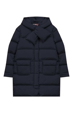 Детского пуховое пальто с капюшоном IL GUFO темно-синего цвета, арт. A19GP233N0031/10А-12А | Фото 1