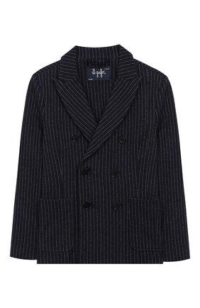 Детский двубортный пиджак из хлопка IL GUFO темно-синего цвета, арт. A19BF038M1075/5А-8А | Фото 1