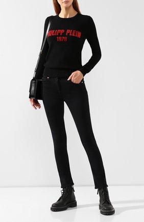 Женская кашемировый пуловер PHILIPP PLEIN черного цвета, арт. WJO0471 | Фото 2