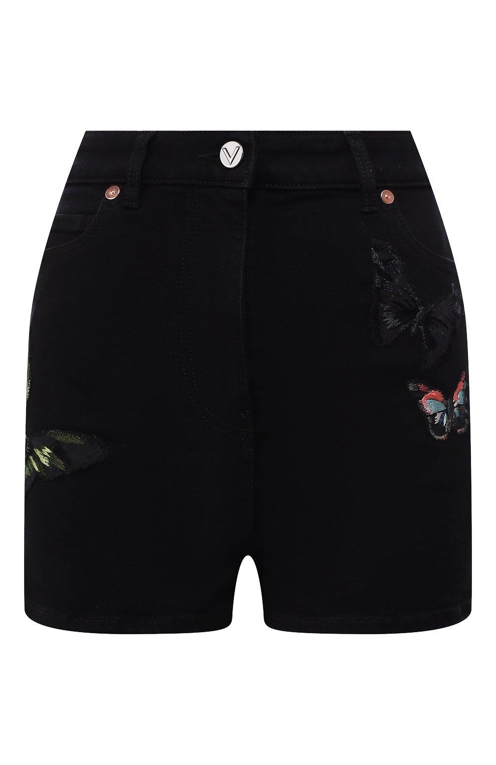 Женские джинсовые шорты VALENTINO черного цвета, арт. SB3DD08Z45M   Фото 1