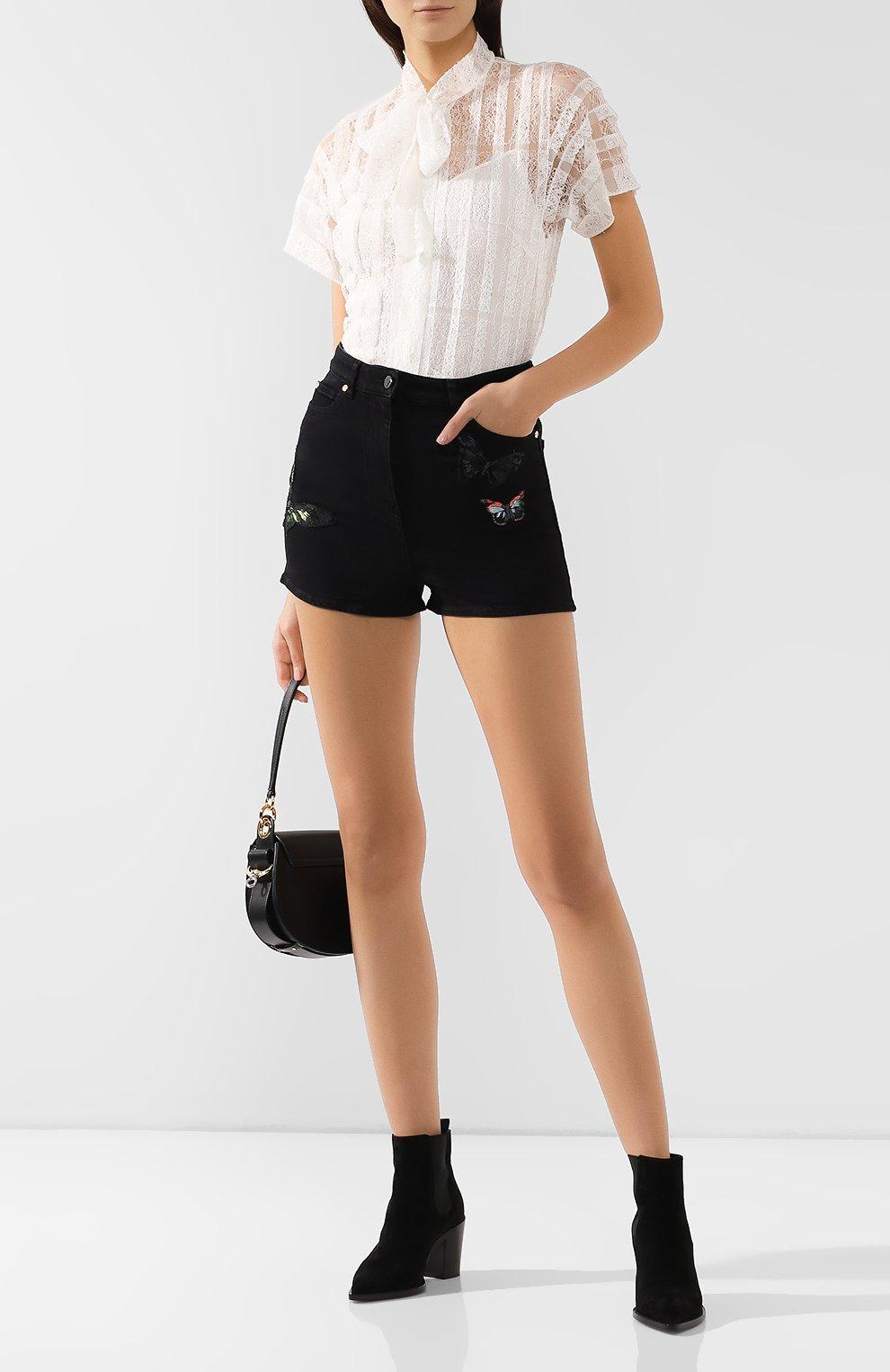 Женские джинсовые шорты VALENTINO черного цвета, арт. SB3DD08Z45M   Фото 2