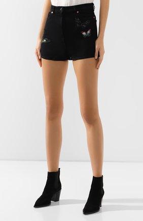 Женские джинсовые шорты VALENTINO черного цвета, арт. SB3DD08Z45M   Фото 3