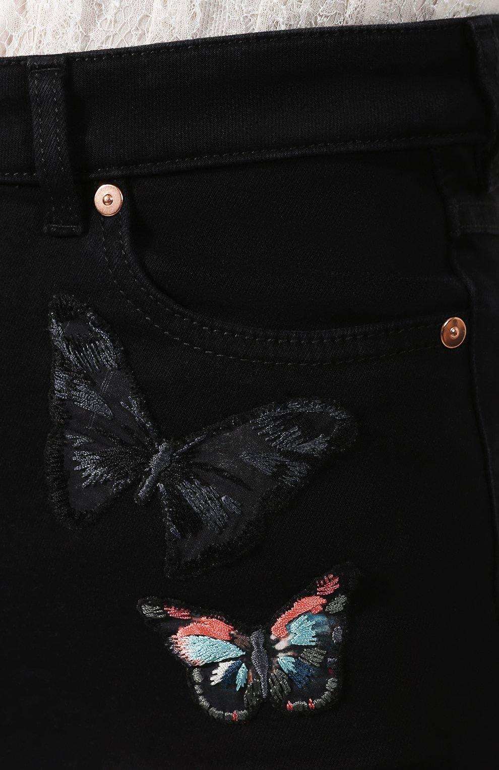 Женские джинсовые шорты VALENTINO черного цвета, арт. SB3DD08Z45M   Фото 5