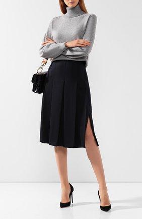 Женская шерстяная юбка LORO PIANA темно-синего цвета, арт. FAI7957   Фото 2