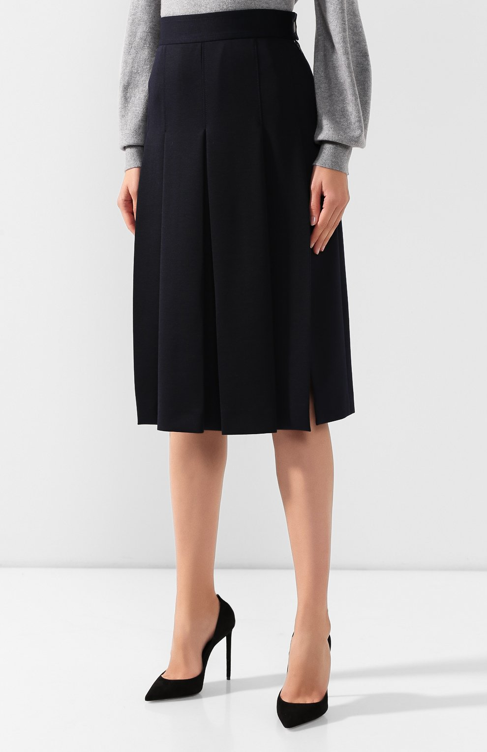 Женская шерстяная юбка LORO PIANA темно-синего цвета, арт. FAI7957   Фото 3