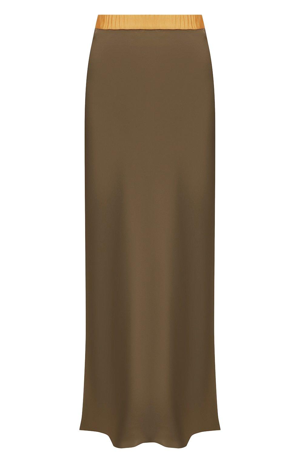 Женская юбка из вискозы HELMUT LANG хаки цвета, арт. J05HW304 | Фото 1